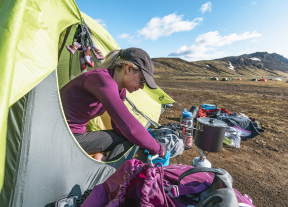 Girl in tent in Iceland